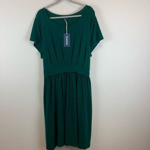 ModCloth | Solid Green Pleated Dress